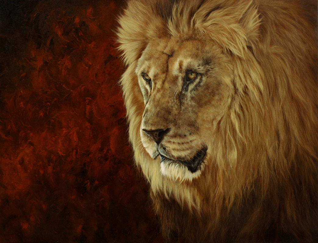 lion painting, lion oil painting, male lion painting